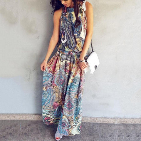Halter  Printed  Sleeveless Floral Maxi Dresses