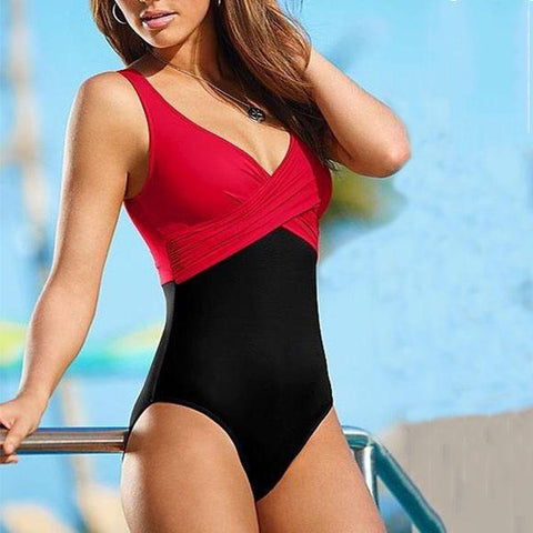 Deep V-Neck  Color Block Plain Bikini