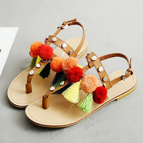 Bohemian Tassel Buckle Clip Toe Sandals