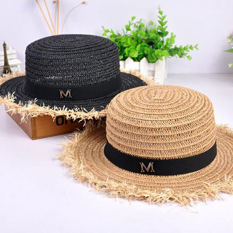 Hot Sale+Flat Top Straw Hat Summer Spring Women's Trip Caps Leisure Pearl Beach Sun Hats