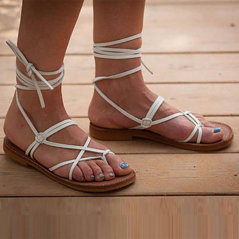 Fashion Pure Color Strappy Sandals