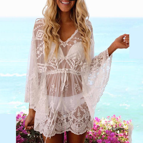 Sexy V Collar Lace Hollow Beachwear