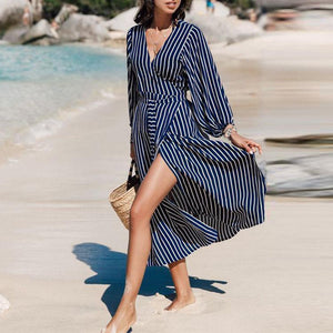 Sexy V Collar Stripe Long Sleeve Beach Vacation Dress