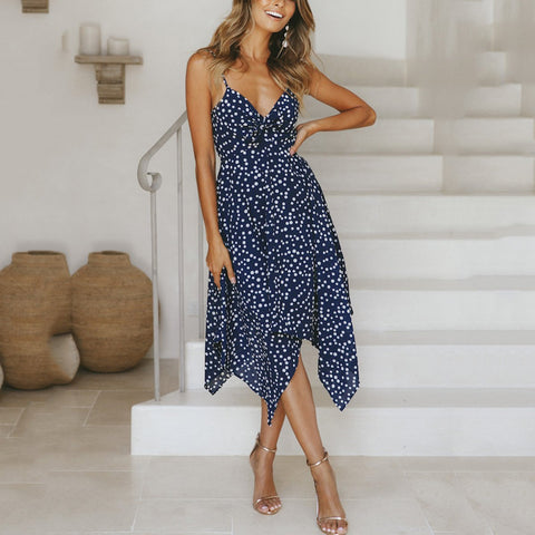 V Neck  Backless  Sleeveless Vacation Dresses