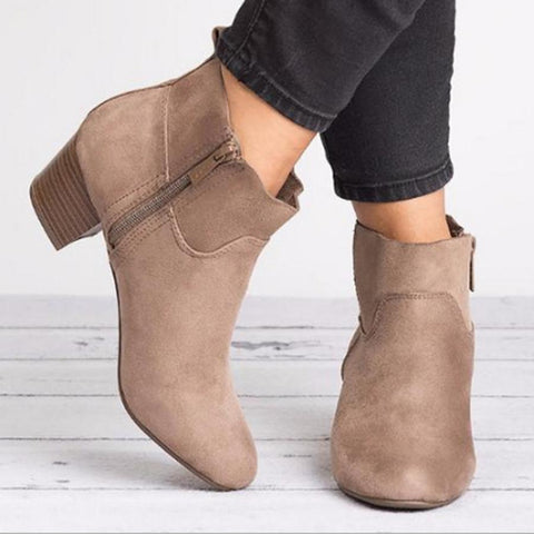 Plain  Chunky  Mid Heeled  Velvet  Round Toe  Outdoor High Heels Boots