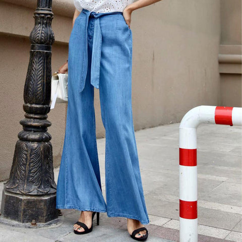 Fashion Casual Loose Plain Lace-Up Waistband Bell-Bottom Long Pants