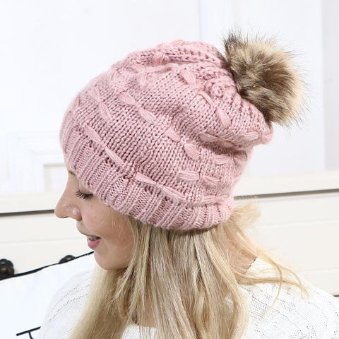 Fashion Casual Lady Thermal Strip Knitting Hat