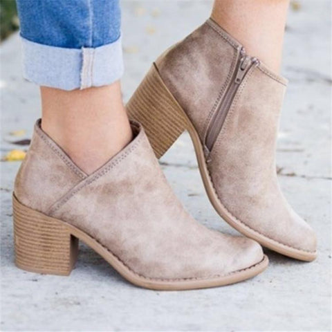 Mid-Heeled With Pointed Toe Single Boots Low Boots And Ankle Boots