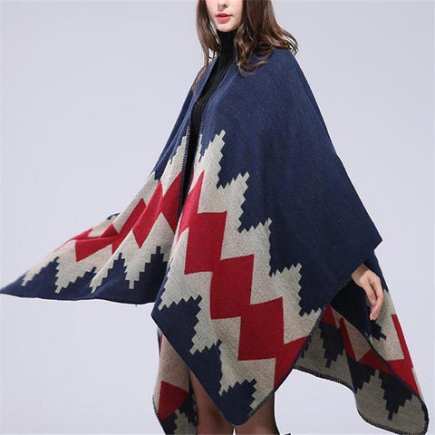 Fashion Casual Thermal Loose Floral Cape Scarf