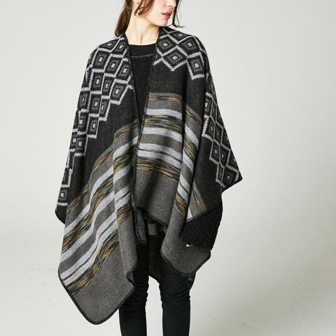Elegant Fashion Casual Strip Thermal Cape Scarf
