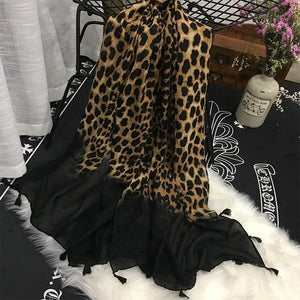 Fashion Casual Leopard Print Black Fringe Bottom Cape Scarf