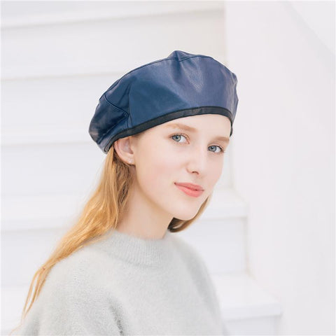 Fashion Casual Elegant Leather Plain Adjustable Beret Hat