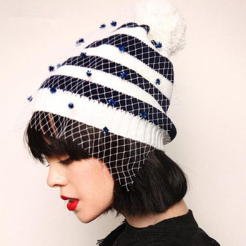 Fashion Casual Nifty Gauze Strip Knitting Hat