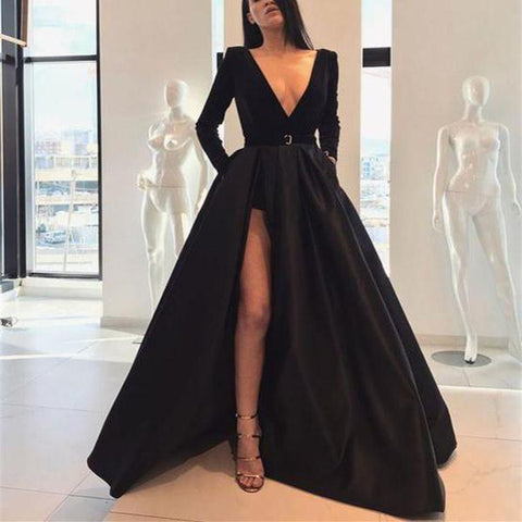 Autumn Sexy Long Sleeves Waist Open Slit Maxi Dress