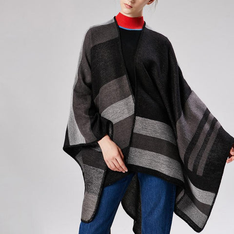 Fashion Casual Thermal Plaid Rectangle Cape Scarf