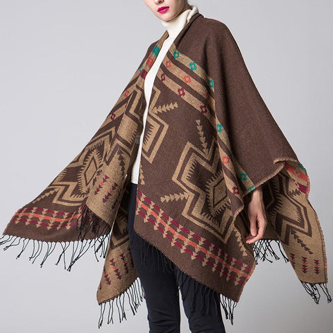 Fashion Casual Thermal Plaid Rectangle Fringe Bottom Cape Scarf