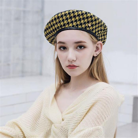 Chic Casual Elegant Plaid Beret Hat