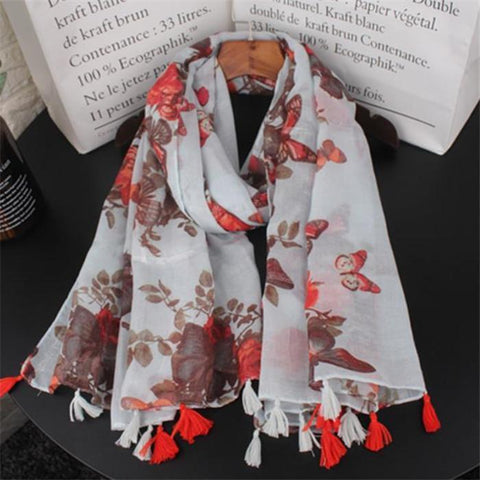 Casual Vacation Chic Floral Fringe Bottom Rectangle Cape Scarf
