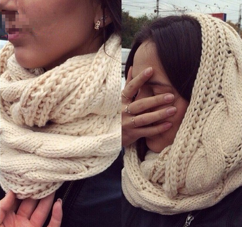 Casual Fashion Thermal Plain Knitting Scarf