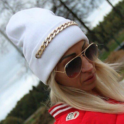Chic Casual Chain Thermal Knitting Hat