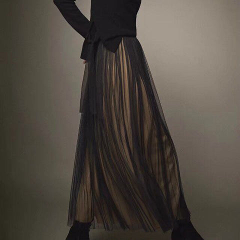 Elegant Nifty Chic Plain Elastic Waist Tulle Long Skirt