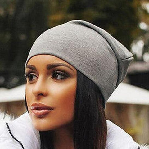 Thermal Chic Plain Elastic Cotton Hat