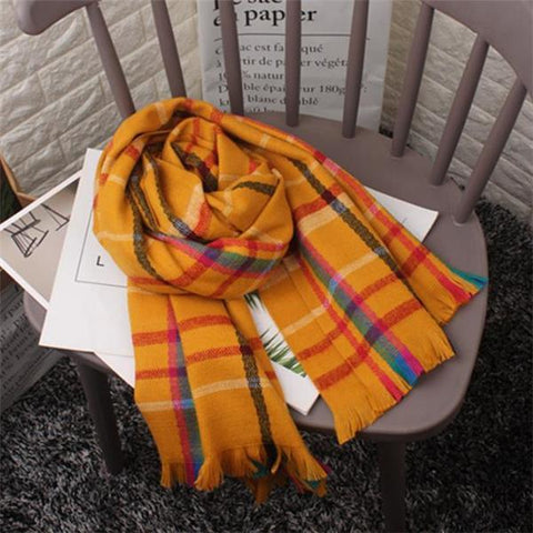 Stylish Elegant Casual Rectangle Plaid Fringe Cape Scarf