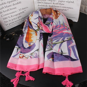 Lady Casual Thermal Print Rectangle Cape Scarf