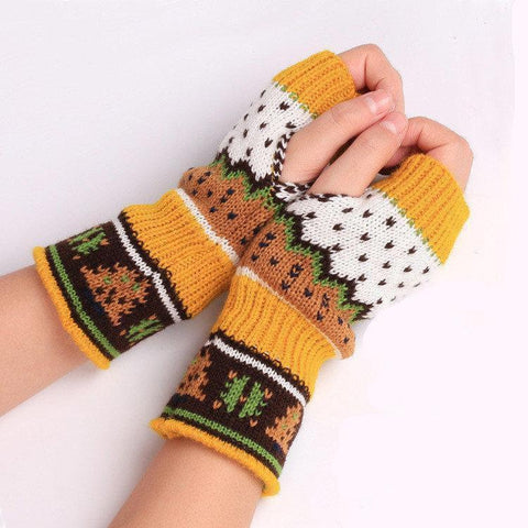 Hand Warmer Winter Gloves Arm Knitting Cartoon Christmas Tree Fingerless Gloves