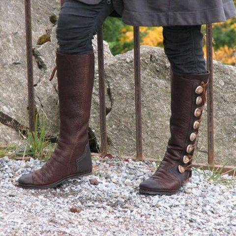 Fashion Winter Low Heel Button Plain Long Boots