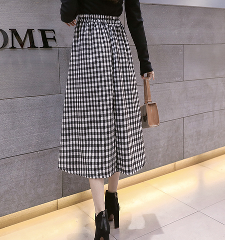 Fashion New Casual High Waist Check Skirt