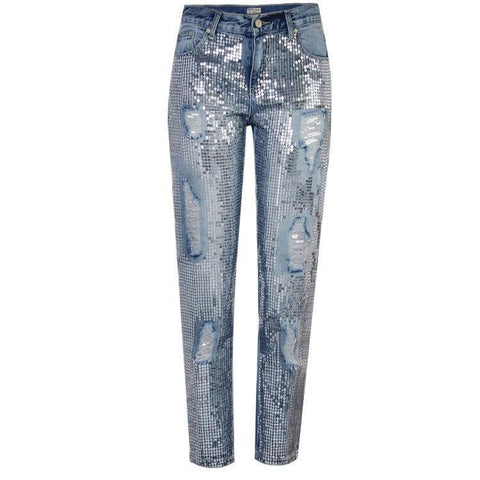 Casual Loose Straight Metal Embroidered Jeans