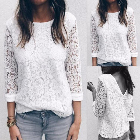 Casual Lace Hollow Out Long Sleeve Shirt