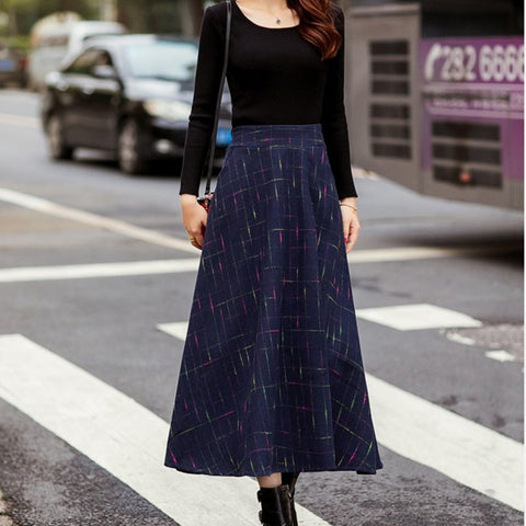 New Slim Plaid Big-Swing Thick Woolen Skirt