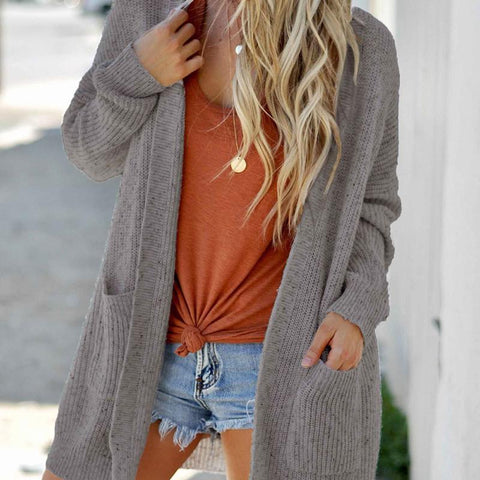 Casual Splicing Pure Colour Long Sleeve Cardigan