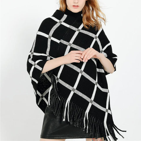 Fashion Tassel Warm Plaid Pashmina