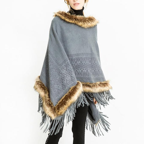 Fashion Neckline Wool Tassel Warm Shawl