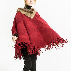 Fashion Pure Color Dark Pattern Tassel Shawl