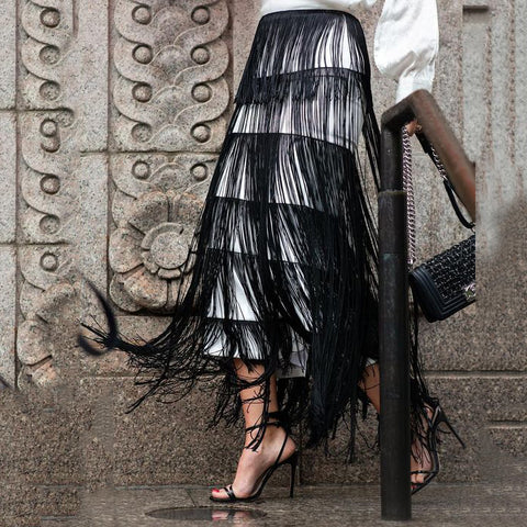 New Style Elegant Plain Tassels Half-Length Long Skirt