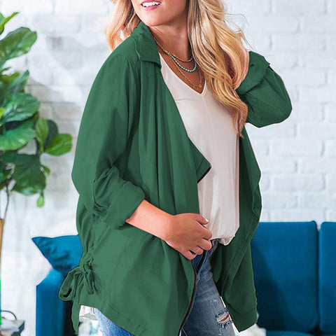 Casual Waisted Zipper Long Sleeve Pure Colour Cardigan