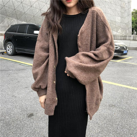 Casual Pure Colour Long Sleeve Plush Knitwear And Jersey Dress