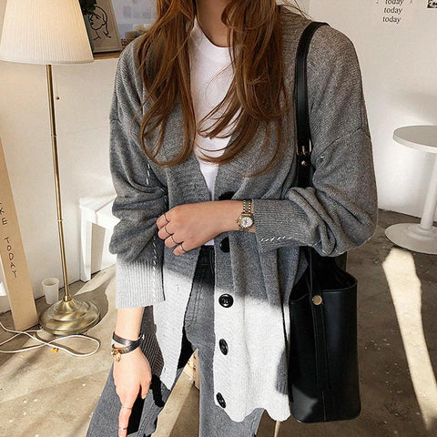 Casual Pure Colour Loose Knitted Sweater Cardigan