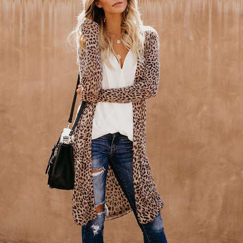 Casual Leopard Print Slim Long Sleeve Cardigan Coat