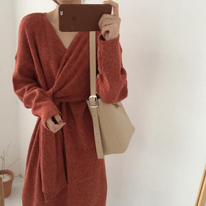 Fashion V Neck Pure Colour Belted Sweater Dress