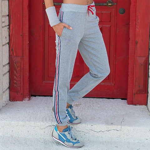 Casual Pure Color Splicing Stripe Sports Pants