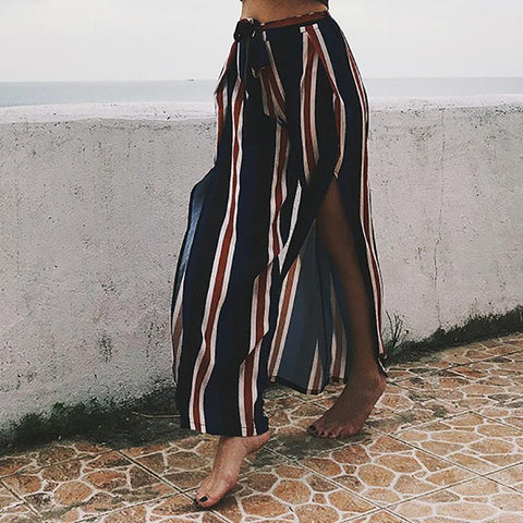 Bohemia Sexy Striped Split Casual Beach Vacation Pants