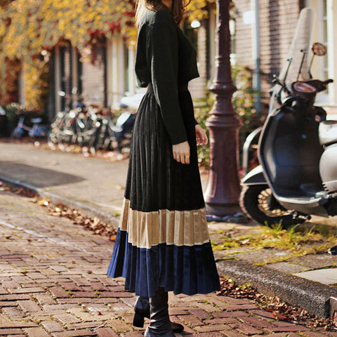 Fashion Velvet Colorblock Pleated Skirt