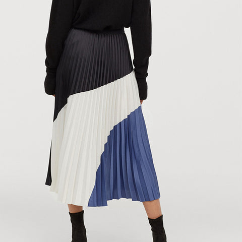 Fashion Color Matching Elastic Waist Pleated Skirt