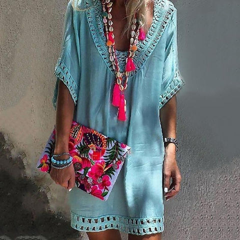 Ownboho V-Neck Bikini Smock Beach Dress