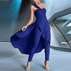 Casual Sexy Off The   Shoulder Pantskirt Pure Color Jumpsuit